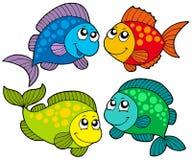 De leuke inzameling van beeldverhaalvissen Stock Afbeelding
