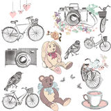 De leuke inzameling van getrokken vectorhand heeft het stuk speelgoed van de fietsencamera bezwaar Royalty-vrije Stock Fotografie