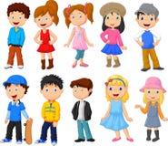 De leuke inzameling van het kinderenbeeldverhaal Stock Fotografie