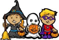 De leuke Jonge geitjes van Halloween in Truc of behandelen Kostuums Stock Afbeelding