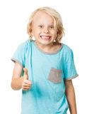 De leuke jonge jongen geeft duimen op Royalty-vrije Stock Foto
