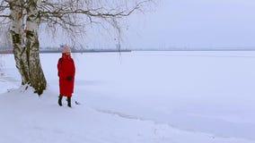 De leuke jonge vrouw bevindt zich dichtbij berk op snow-covered bank van rivier en bekijkt schilderlandschap stock footage