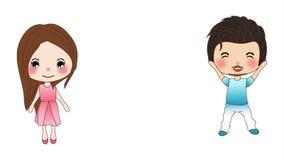 De leuke Jongen en het Meisje op een witte achtergrond, kerel en een dame die, animeerden vrouw en de mens een springen royalty-vrije illustratie