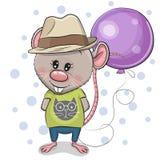 De leuke jongen van de Beeldverhaalrat met Ballon vector illustratie