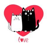 De leuke jongen van de beeldverhaal zwarte witte kat en meisjesfamilie Groot Rood Hart Potpaar op datum Snorbakkebaard Grappig ka Stock Afbeelding
