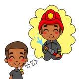De leuke Jongen van de Brandweerman royalty-vrije illustratie