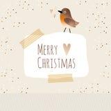 De leuke kaart van de Kerstmisgroet met vogel, Stock Foto's