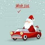 De leuke kaart van de Kerstmisgroet, wenslijst met Santa Claus, retro sportwagen, Stock Foto