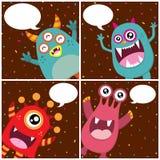 De leuke kaart van de monsterverjaardag Stock Afbeeldingen