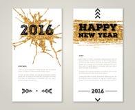 De leuke Kaarten van de Nieuwjaargroet met Gouden Confettien Stock Afbeelding