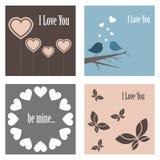 De leuke kaarten van de valentijnskaart Royalty-vrije Stock Afbeeldingen