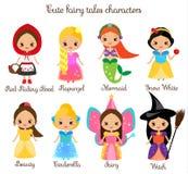 De leuke karakters van kawaiisprookjes Sneeuw witte, rode berijdende kap, rapunzel, cinderella en andere prinses in mooie kleding royalty-vrije illustratie