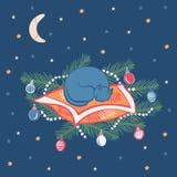 De leuke kat slaapt op een pijnboom vertakt zich met de vectorillustratie van Kerstmisornamenten vector illustratie