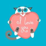 De leuke kat van de beeldverhaalgember met hart en verklaring Stock Fotografie