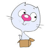 De leuke kat van het beeldverhaalkarakter Katjeszitting in een doos Royalty-vrije Stock Afbeelding