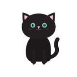De leuke kat van het zittings zwarte beeldverhaal met snorbakkebaard Grappig karakter Witte achtergrond Vlak Ontwerp Stock Fotografie