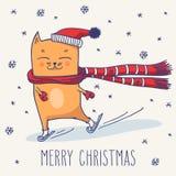 De leuke kat van de winterkerstmis Stock Afbeeldingen