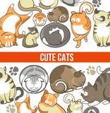 De leuke katten met grote ogen in slaperig of speels stelt vector illustratie