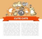 De leuke katten met grote ogen in slaperig of speels stelt vectorhuisdieren of huisdierengember en grijze katjes met vlekken vector illustratie