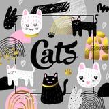 De leuke Katten overhandigen Getrokken Ontwerp Kinderachtige Achtergrond met Katje en Abstracte Elementen Babysamenstelling Uit d vector illustratie