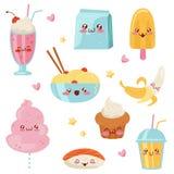 De leuke Kawaii-set van tekens van het voedselbeeldverhaal, desserts, snoepjes, sushi, snel voedsel vectorillustratie op een witt stock illustratie