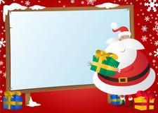 De leuke Kerstman met Giften en voorziet op Rode Backgrou van wegwijzers Stock Foto's