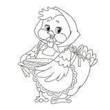 De leuke kip van het beeldverhaalkarakter Grootmoeder met pannekoeken Vector die op witte achtergrond wordt geïsoleerd Kleurende  Royalty-vrije Stock Foto's