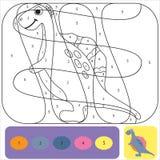 De leuke kleurende pagina van Dino voor jonge geitjes Voor het drukken geschikt ontwerp kleurend boek Kleurend raadsel met aantal vector illustratie