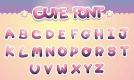 De leuke kleurrijke Grappige Doopvont van het brievenalfabet Beeldverhaalvector illust Stock Foto's