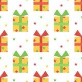 De leuke kleurrijke naadloze patroonachtergrond met kleurrijke giftdozen, stelt voor en speelt mee Stock Foto's