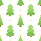 De leuke kleurrijke vlakke achtergrond van het de boom naadloze patroon van ontwerpkerstmis Stock Afbeelding