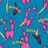 De leuke kleurrijke zoete vector van het cactus naadloze patroon met ALOHA-groettekst, ontwerp voor manier, stof, Web, behang, en vector illustratie