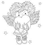 De leuke krabbel van Valentin van het engelenhart vector illustratie
