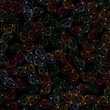 De leuke krabbels overhandigen getrokken naadloos patroon op een zwarte achtergrond stock illustratie