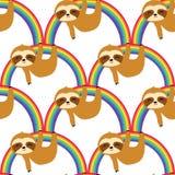 De leuke Luiaarden op het Regenboog Naadloze Patroon, luiaarden herhalen Patroon voor textielontwerp, stoffendruk, manier of acht royalty-vrije illustratie