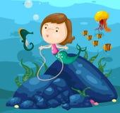 De leuke meermin van het zeegezicht onderwater Stock Foto's