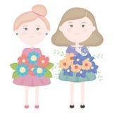 De leuke meisjes koppelen aan bloemenboeket stock illustratie