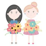 De leuke meisjes koppelen aan bloemenboeket royalty-vrije illustratie
