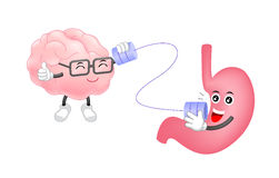 De leuke menselijke maagbespreking aan hersenenkarakters kan langs telefoneren Royalty-vrije Stock Foto