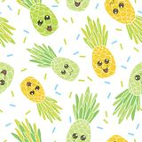 De leuke naadloze ananasgezichten herhalen patroon Royalty-vrije Stock Fotografie