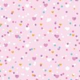 De leuke naadloze confettienharten herhalen patroon stock fotografie