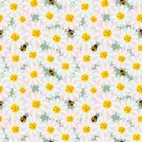 De leuke naadloze pastelkleurbloemen herhalen patroon met lieveheersbeestje op zachte groene achtergrond royalty-vrije illustratie