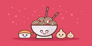 De leuke noedel ramen komsushi en grappige karakters van het bol de vastgestelde beeldverhaal met het glimlachen kawaiistijl Azia vector illustratie