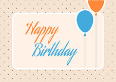 De leuke Oranje en Blauwe Kaart van de Verjaardagsgroet met Ballons en Stippen Stock Fotografie