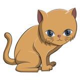 De leuke oranje miauw van de kattenzitting Stock Afbeeldingen