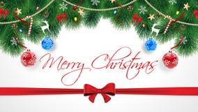 De leuke originele Vrolijke kaart van Kerstmisgelukwensen Abonnement op witte achtergrond met de winterlandschap met Royalty-vrije Stock Afbeeldingen