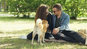 De leuke de paarman en vrouw tikken mooie hond en spreken zitting op gazon in het park Moderne binnenlandse levensstijl, stock videobeelden
