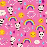 De leuke panda draagt het patroon van de regenbogenwolken van regendalingen stock illustratie