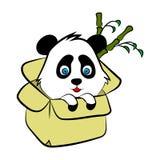De leuke Panda draagt illustratie, eenvoudige stijlkaart, affiche vector illustratie