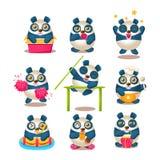 De leuke Panda Emoji Collection With Humanized-Dingen Van dag tot dag van Beeldverhaalpanda character doing different Royalty-vrije Stock Afbeeldingen